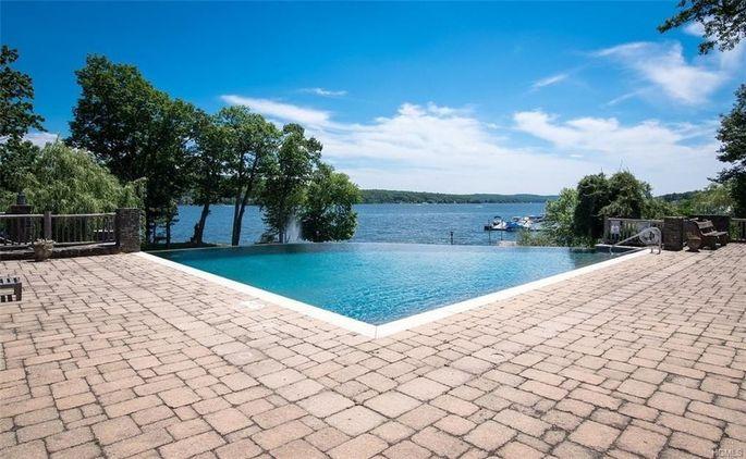 Infinity pool with lake views