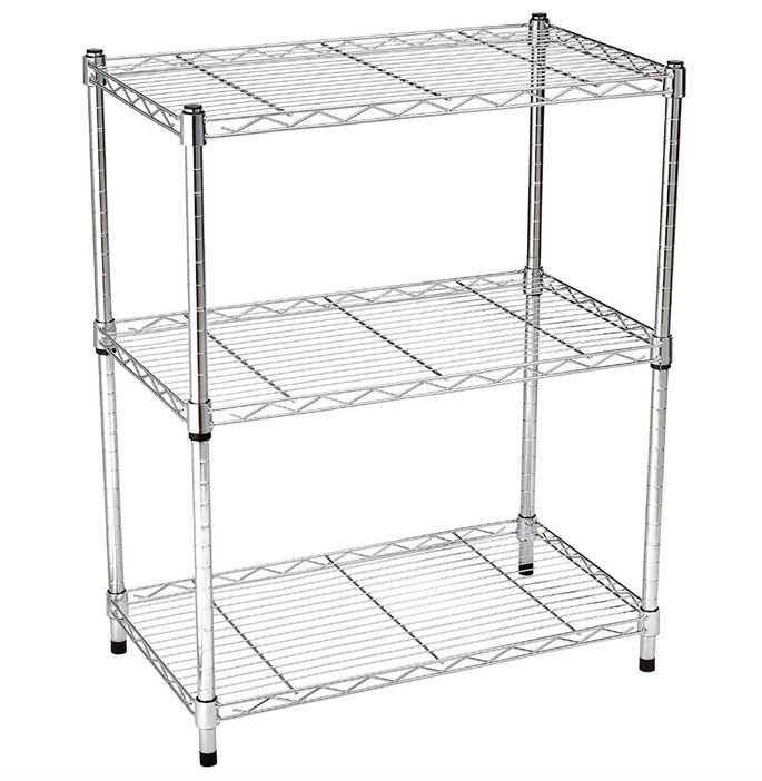 Each wire shelf on this unit holds up to 250 pounds.