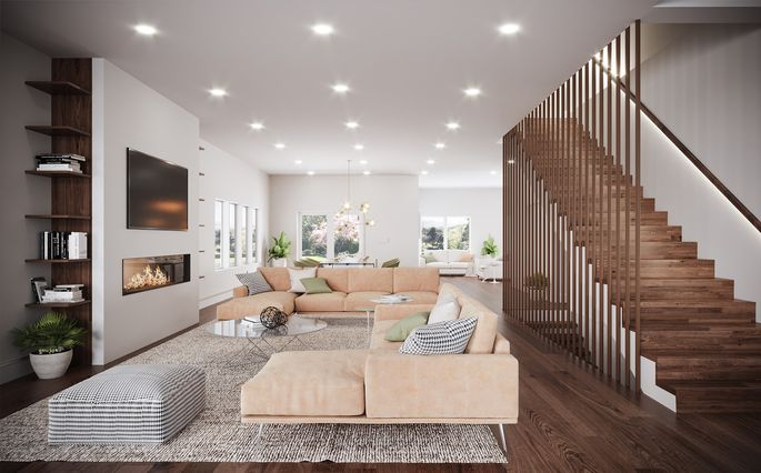 A living room in a home designed by Carrino
