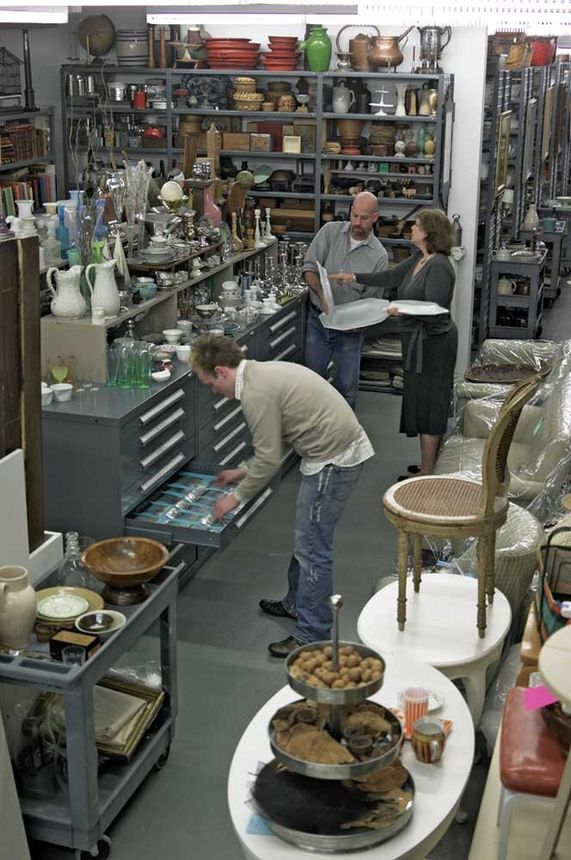 Martha Stewart items up for auction are displayed in a warehouse.