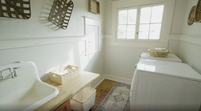 This room works much better as a laundry room.
