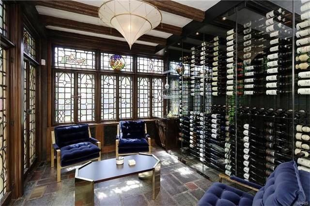 Wine room with stained-glass windows and doors