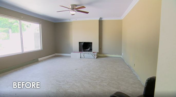 This fireplace looked too plain before renovation.
