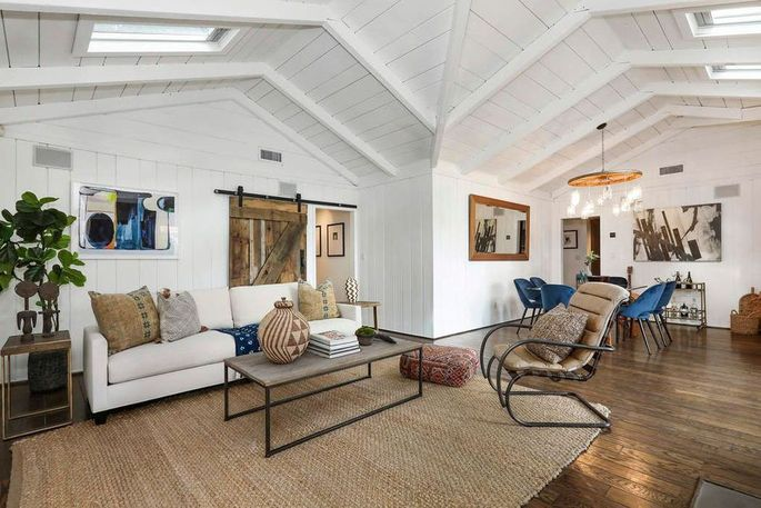 Vaulted ceiling with skylights