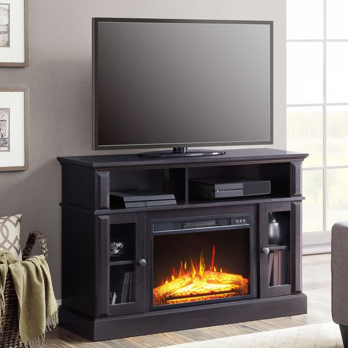 This TV stand will keep you warm as you watch your favorite shows.