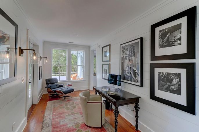 White paint on the walls elevates the design of this room.