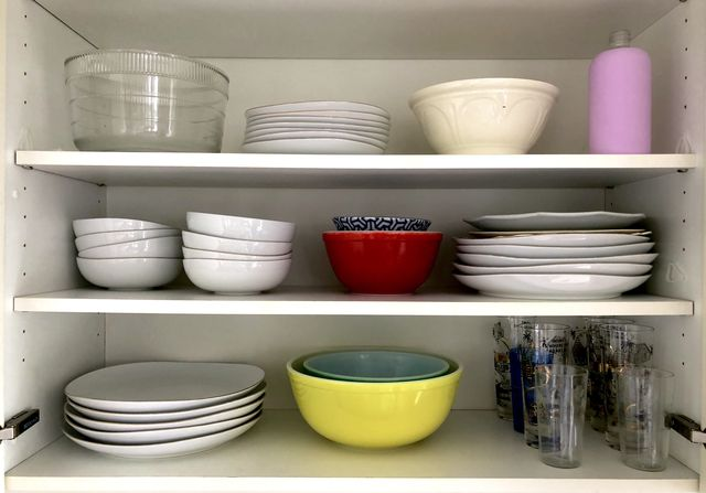 Dishware in a cabinet