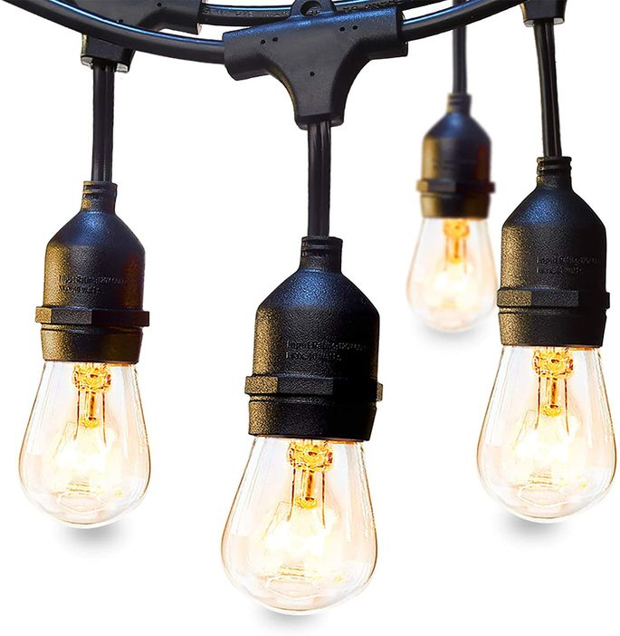 Old-school bulbs give your outdoor space a vintage style.
