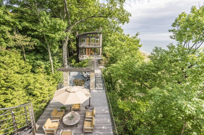 There is roughly 6,000 square feet of Brazilian ipe wood decking on the Lake Michigan home of Gaylen and Susan Byker.