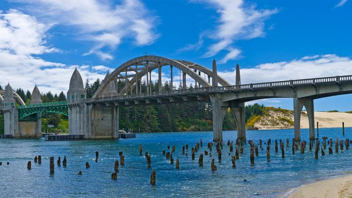 The Conde B. McCullough Memorial Bridge in North Bend, Oregon