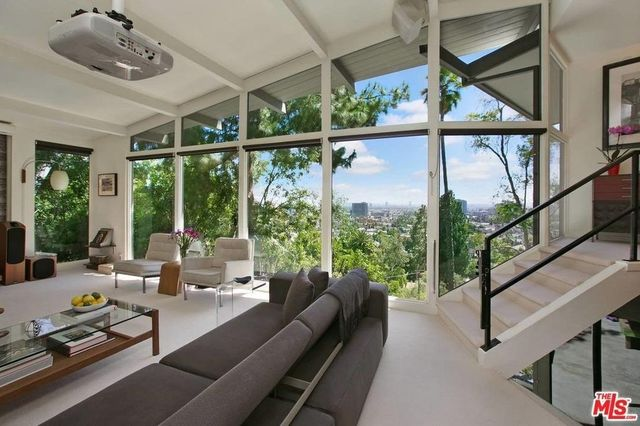 Mid-Century Modern living room with views