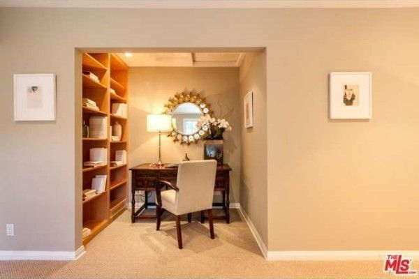 A closet can be converted into a light and pleasant office niche.