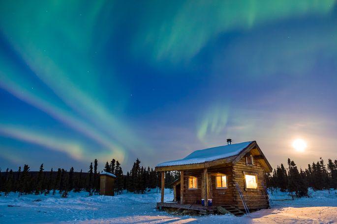 Alaska Cabin Northern Lights