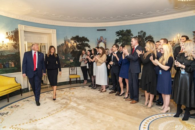 President Donald Trump and first lady Melania Trump in the Diplomatic Reception Room of the White House.