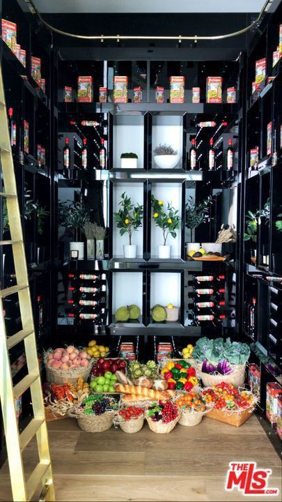 The wine cellar that used to house Champagne is now an organic pantry.
