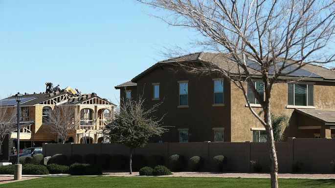 One of many homes underconstruction in Gilbert, AZ