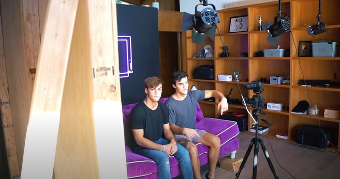 Ethan and Grayson on the set