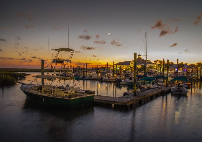 Boats docked at the marina in Murrells Inlet, SC