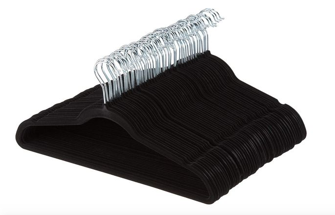 Sleek velvet hangers also clear extra space in your closet.