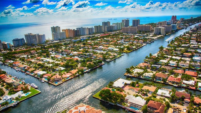 The Intracoastal Waterway as it bisects a residential neighborhood in the Pompano Beach area of South Florida just north of Fort Lauderdale.