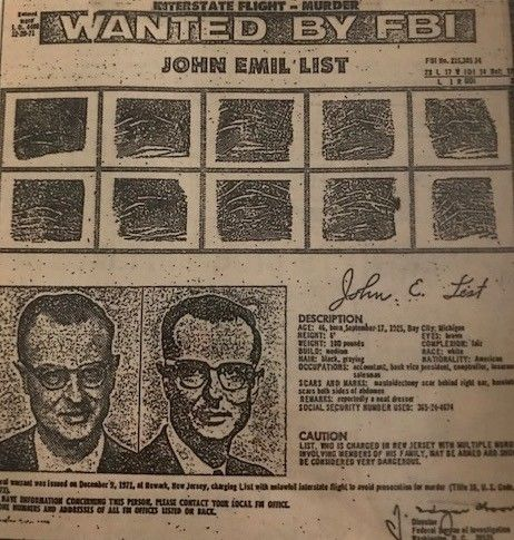 A wanted poster seeking the capture of John List, who murdered his family.