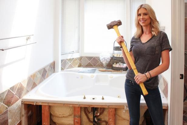 Christina Anstead gets ready for a master bath demo.