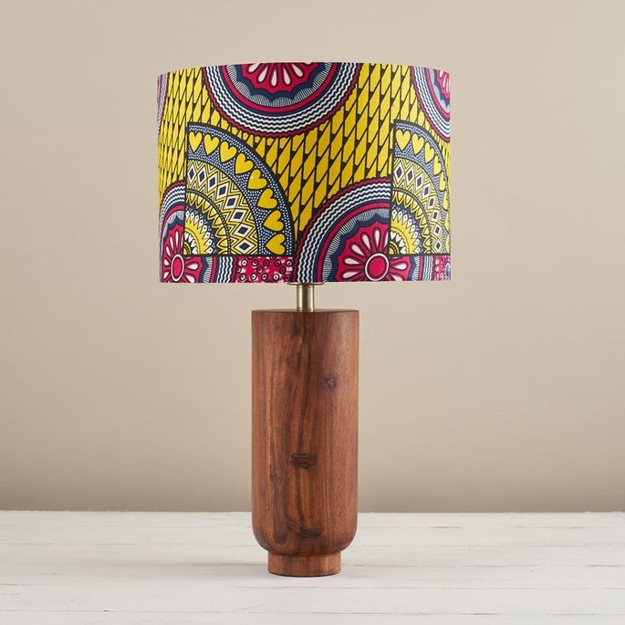 African wax print drum lampshade