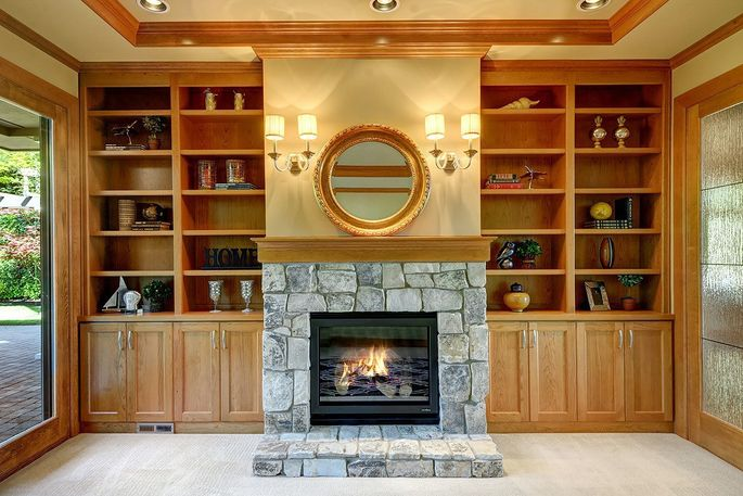 One of the home's three fireplaces