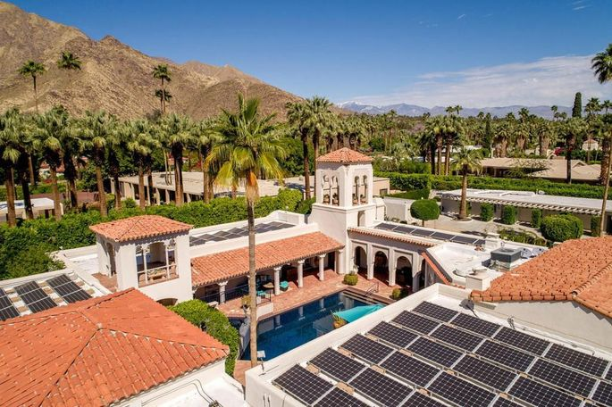 Pool and solar panels
