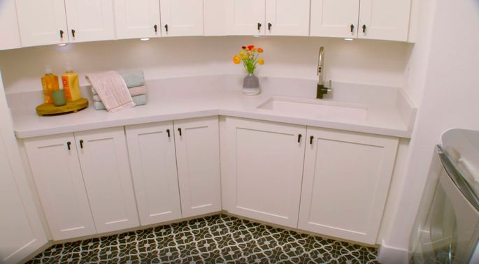 There's a ton of space and storage in this laundry room.