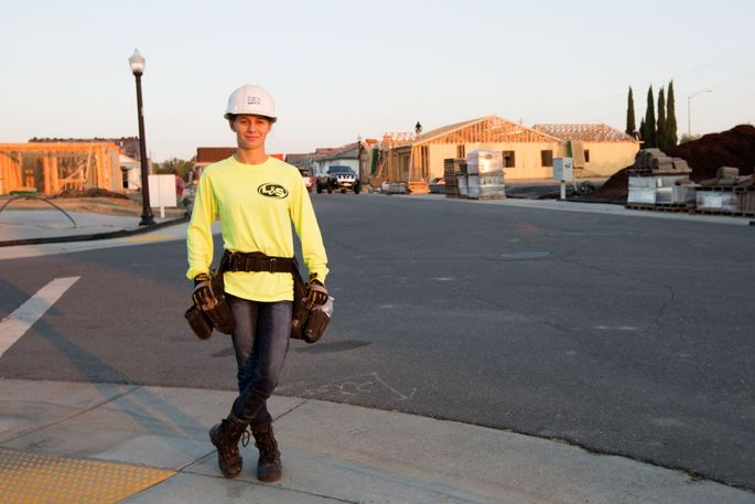 Yulia Khandryka, who is studying construction management, is working as a framer this summer in Sacramento.