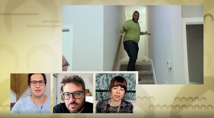 The comedians point out that stairs should have hardwood.