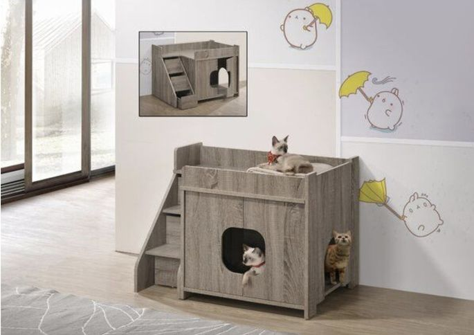 A litter box plus play area