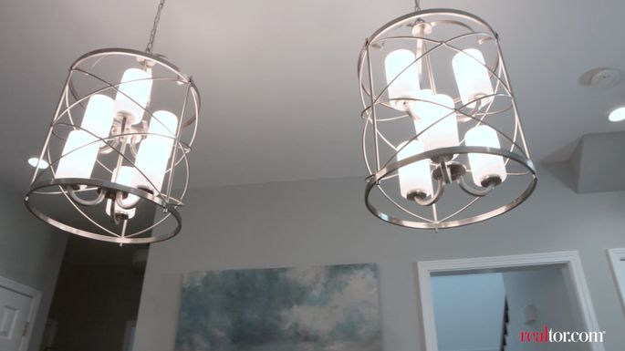 These unique chandeliers gave the room the modern elegance that the Lightners craved.