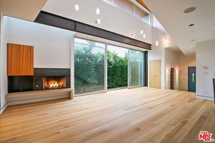 Living area with sliding glass doors