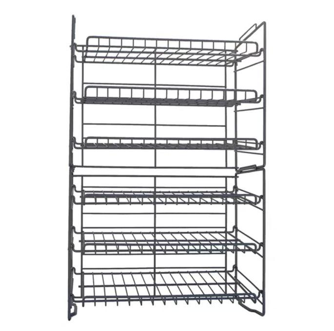 Six-tier, double-can racks
