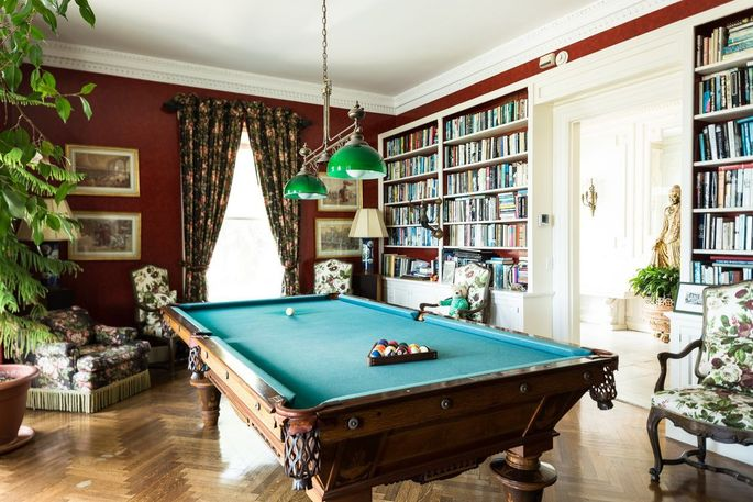 A billiards room at the property.