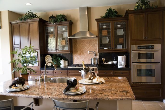 The pot filler over the stove in this gourmet kitchen is destined to go unused.