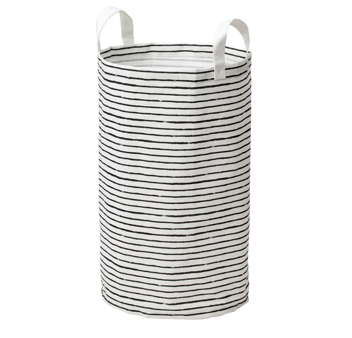 Carry your dirty clothes in style with this striped laundry bag.