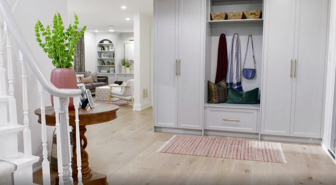 This updated entryway has lots of storage and a fresh feel.