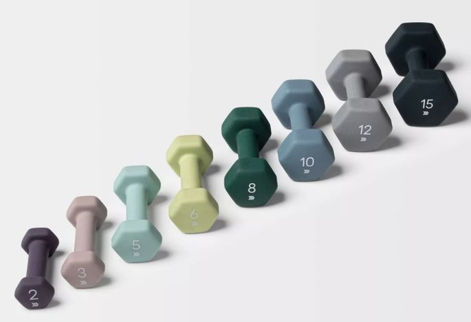 Get your reps in with a set of free weights.