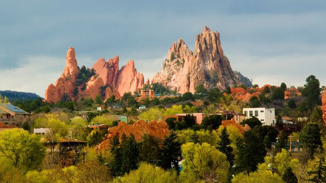 Residential area with view of Garden of the Gods in Colorado Springs.