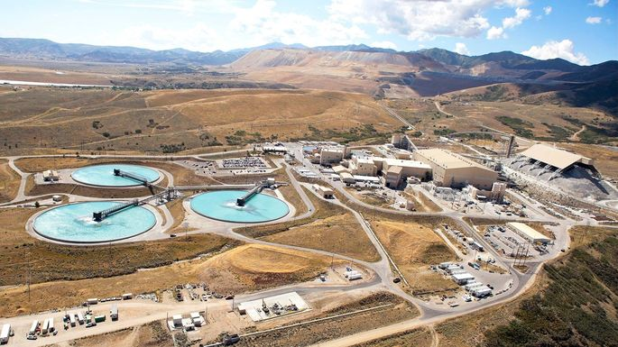 Blue skies and blue pools at a copper refinery in Utah.