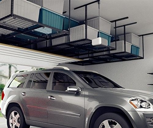 Take advantage of overhead space by installing a ceiling storage rack.