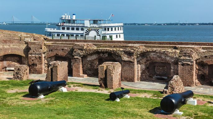 Fort Sumter in Charleston, SC, is notable for two battles of the Civil War.