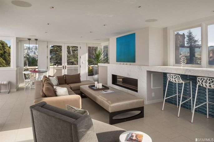 Penthouse lounge with deck access