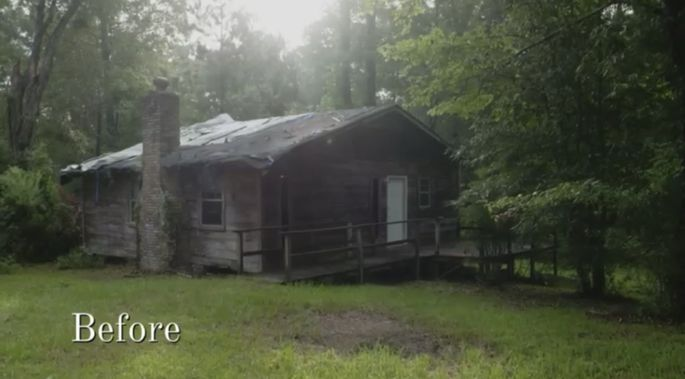 Before: Ben and Erin knew they had their work cut out for them with this cabin.