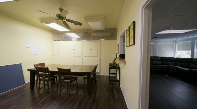 Before: This dining room was dark and dingy.