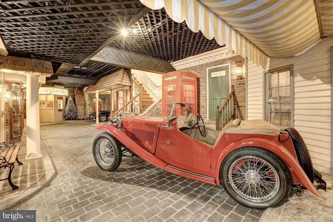 Basement town with antique car