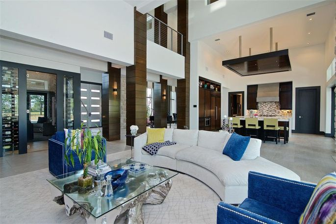 Open plan with living and dining spaces